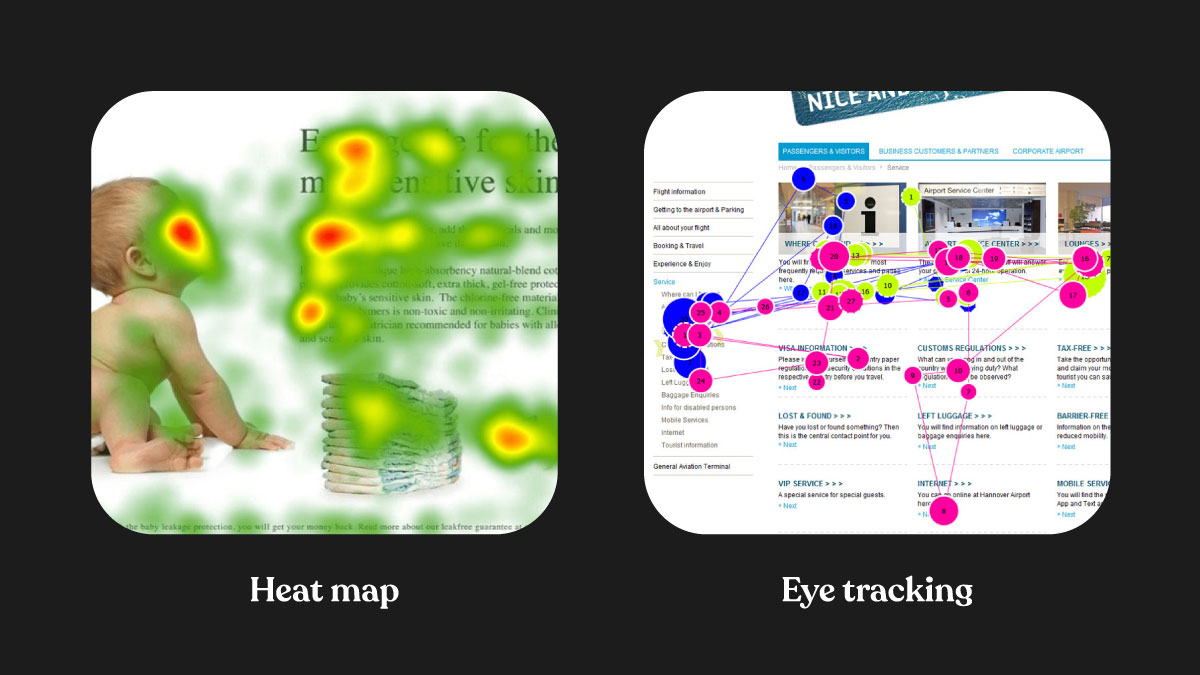 Heat mapping and eye tracking in user testing