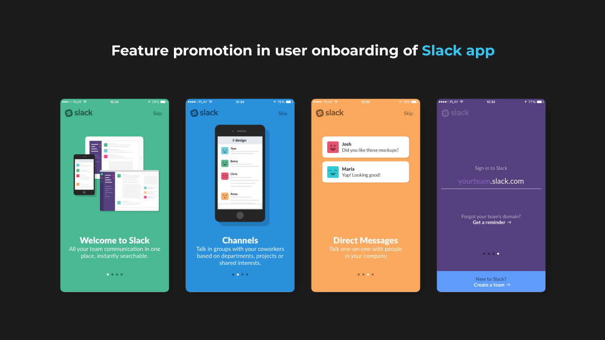 Slack: Onboarding UX designed to promote important app features