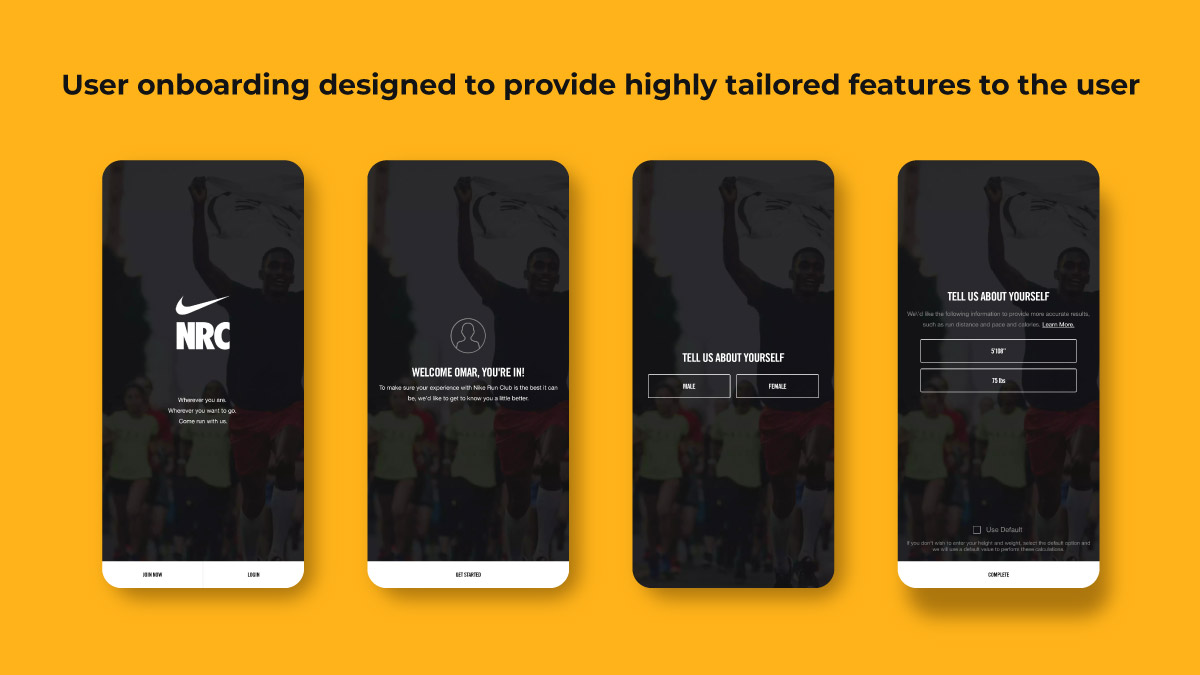 Nike Run Club: User onboarding designed to collect data from user to provide tailored features