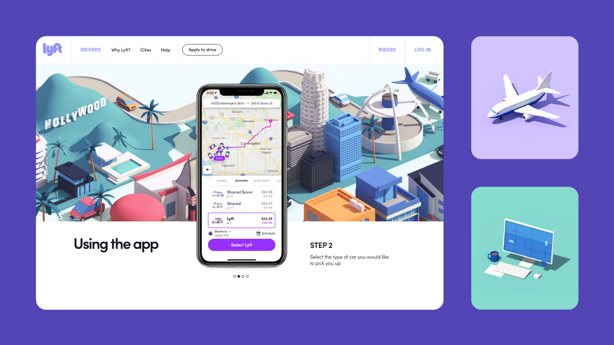 Lyft mobile app - UX done by Work and Co